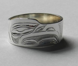 "7/16"" hand engraved silver ring  size 10 1/2"