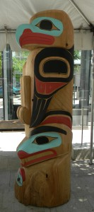 Eagle, bear totem 10' x 3' red cedar