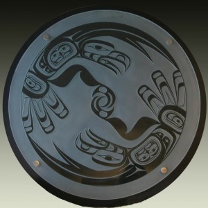 """Eagle Dance"" Glass, cedar, stainless steel standoffs 31"" in diameter"